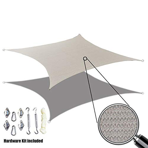Alion Home Custom Sized Durable Permeable Sun Shade Sail with 6 Stainless Steel Hardware Kit – Rectangle – Smoke Grey 7 X 14
