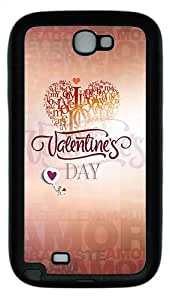 Samsung Galaxy Note II N7100 Case,Feb 14 valentine's day TPU Custom Samsung Galaxy Note II N7100 Case Cover Black