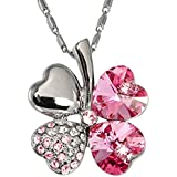 Meiliss Lucky Love Four Leaf Clovers Necklace Crystals,Heart Crystal Pendant with Necklace (Pink)