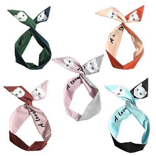 - Twist Bow Wired Headbands,Women's Headbands Scraf Wrap Hair Accessory Hariband,Floral Print Headwarp Twist Knot Yoga Head Wrap Sports Turban,Vintage Printed Criss Cross Knotted for Girls