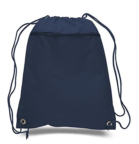 Pocket Front Zip Single - Drawstring Polyester Backpack with Front Pocket (Single) (Navy)