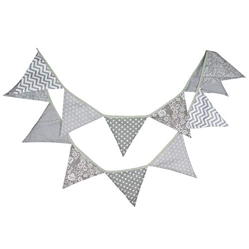 INFEI 3.2M/10.5Ft Black & Gray Halloween Fabric Triangle Flags Bunting Banner Garlands for Wedding, Birthday Party, Outdoor & Home Decoration (Grey)]()