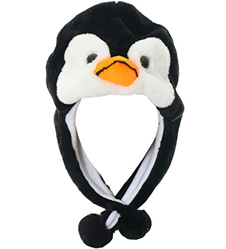 JOYHY Unisex Winter Plush Ear Flap Animal Hats Black Penguin