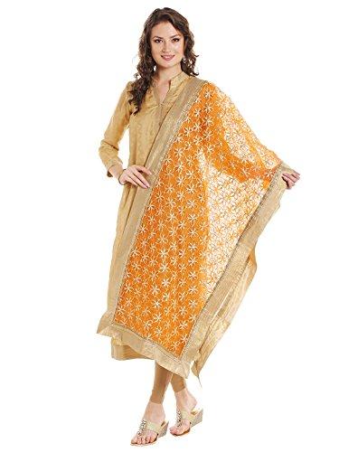 Gorgeous Lehenga Saree (Dupatta Bazaar Women's Orange & Gold Designer Net Dupatta with Floral Gold Gotta Work Design .)