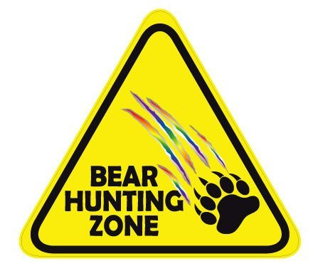 CAUTION BEAR HUNTING ZONE DECAL WITH RAINBOW RIP