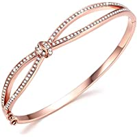 Angelady Classic Bracelets Bangles for Womens Rose Gold Bracelet Women Crystals from SWAROVSKI-Birthday Christmas Xmas New Year Gift for Women Mum Wife-Come with Gift Box