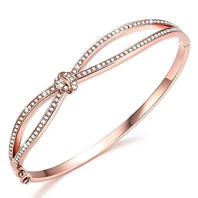 6365a6c06fc4 Angelady Classic Bracelets Bangles for Womens Rose Gold Bracelet Women  Crystals from SWAROVSKI-Birthday Valentine s