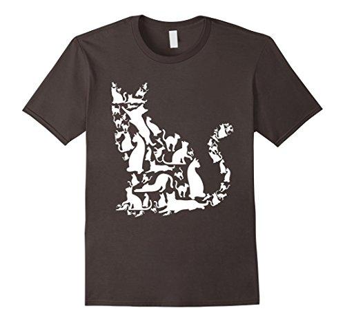 Mens Love Cats Siamese Bengal Short Hair Bunch T Shirt Large Asphalt