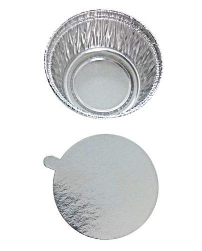 Aluminum Foil Disposable Baking Ramekins - Cupcake (4 oz.) Muffin Liners Mini Baking Cups with Lids for Hot and Cold Foods - Made in USA (Pack of 100) by The Baker Celebrations (Image #1)