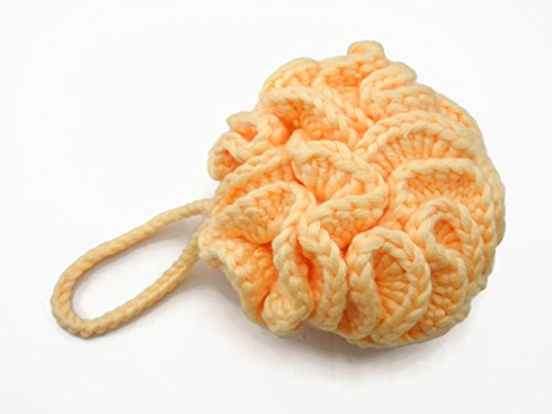 Crochet Cotton Thick Smooth Bath Pouf Scrub Ball   Light Orange