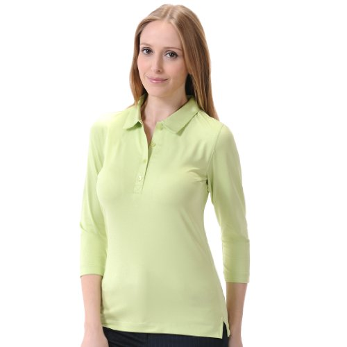 Pique Shirt Sleeve Sport (Monterey Club Ladies Dry Swing Leopard Emboss Solid 3/4 Sleeves Shirt #2430 (Lettuce,Small))
