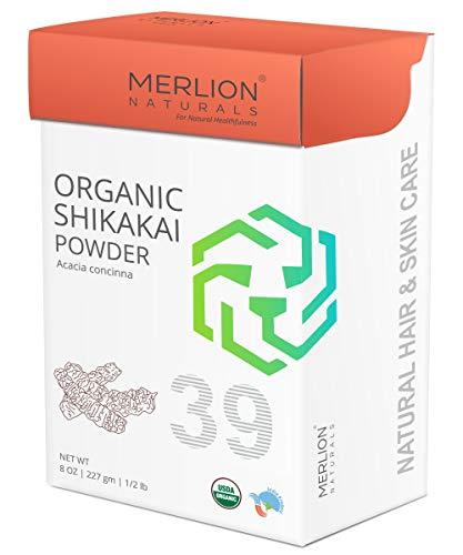 Organic Shikakai Powder by MERLION NATURALS | Acacia Concinna | USDA NOP Certified 100% Organic | Vegan | Excellent Hair Conditioner (8 OZ) (Amla Shikakai Powder)