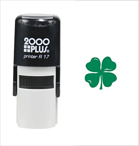 Inking 2000 Plus Self (St. Patrick's Day Four Leaf Clover 2000 Plus Self Inking Teacher Rubber Stamp - Green Ink)