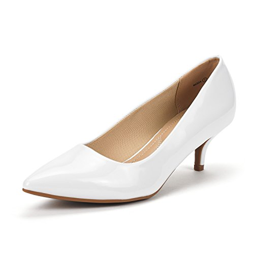 (DREAM PAIRS Women's Moda White Pat Low Heel D'Orsay Pointed Toe Pump Shoes Size 9 M US)