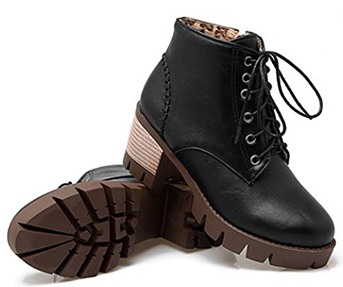 Idifu Kvinna Bekväma Snörning Dragkedja Mid Häl Chunky Plattform Lug Enda Boots Svart
