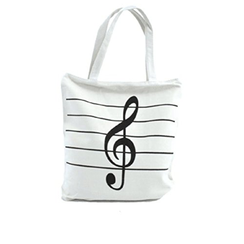 WINOMO Sac à Main Bandoulière Fashion Musique Symboles Impression Toile Tote Sacs Cadeau (blanc)