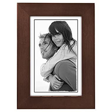 Malden International Designs Linear Classic Wood Picture Frame, 4x6, Walnut