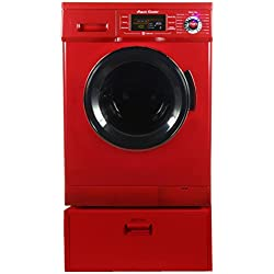 All In One Equator EZ 4400 CV Merlot Compact Combo Washer Dryer with Pedestal Storage Drawer
