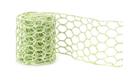(Club Pack of 12 Green Micro-Beaded Netted Wired Craft Ribbon 4