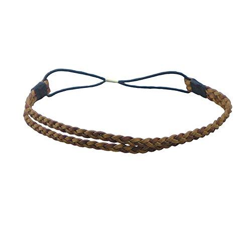 Comair Haarband braun/zweifarbig Geflochtenes Haarband aus Leder mit Gummi