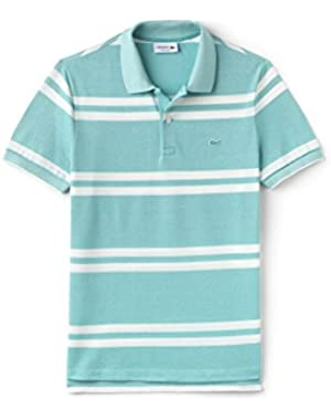 Lacoste Men's Men's Light Blue Striped Pique Polo in Size 6-XL Light Blue