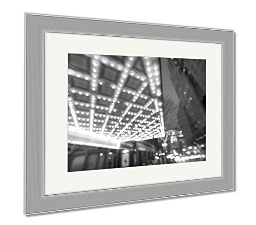Ashley Framed Prints Portland Downtown Broadway Entertainment District At Night, Wall Art Home Decoration, Black/White, 34x40 (frame size), Silver Frame, - Shopping Portland Downtown Or