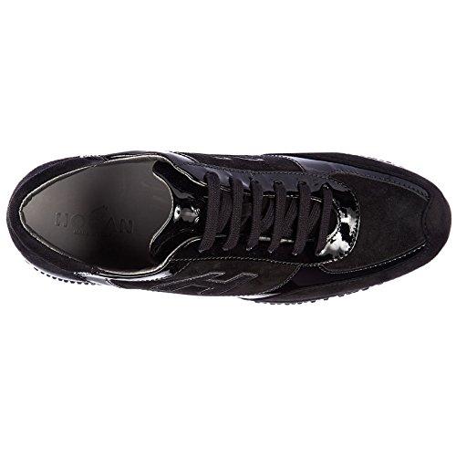 women's trainers shoes black flock Hogan sneakers suede interactive h OBZAxdqwx
