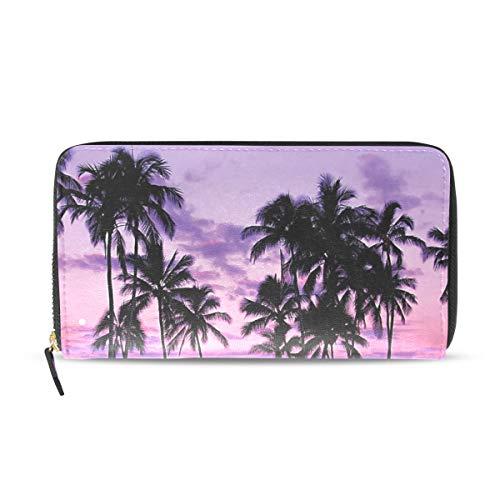 (Womens Wallets Purple Hawaii Sunset Leather Passport Wallet Coin Purse Girls)