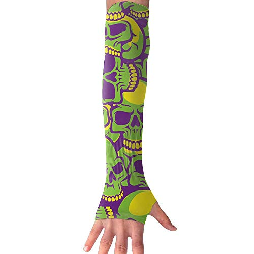 ZHIYANG Green Skull Heads Super Long Fingerless Anti-uv Sun Protection Sleeves for Outdoor Activities Apply to Camping,Driving,Cycling Arm Prevent Injuries Modeling Nice Looking by ZHIYANG