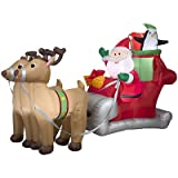 Gemmy 36855 Santa Sleigh Reindeer Christmas Inflatable