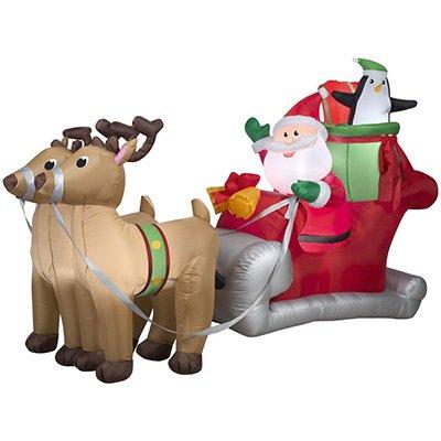 Gemmy 36855 Santa Sleigh Reindeer Christmas Inflatable