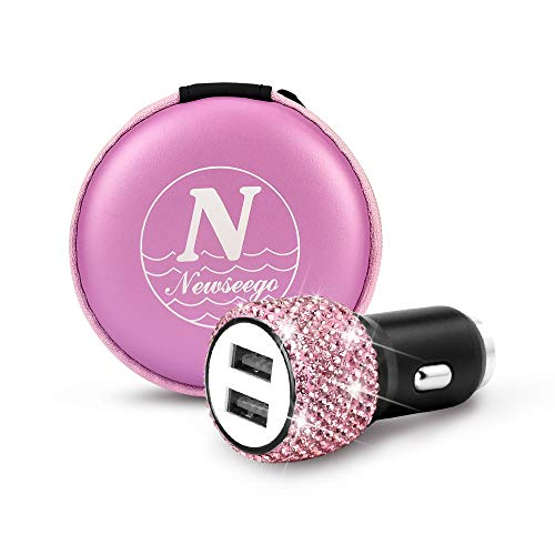 Htc Women Accessories - Newseego Bling Diamond Rhinestone Handmade Dual USB Car Charger Devices for iPhone, iPad Pro/Air 2, Samsung,LG, Nexus, HTC, etc,Car Accessories for Women Girl-Pink