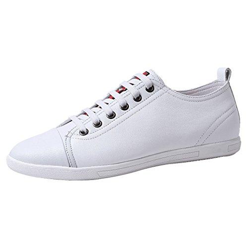 Zapatilla De Deporte De Cuero Para Hombre Sun Lorence Zapatillas De Deporte Lisas Zapato De Skate Blanco