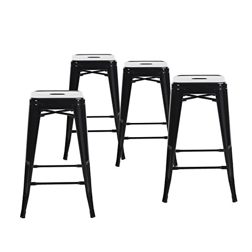 Buschman Set of Four Black 24 Inches Counter Height Tolix-Style Metal Bar Stools, Indoor/Outdoor, Stackable (Stool 24 With Counter Back)