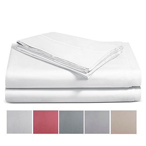 Welhome 600 TC Ultima Sheet Set, 100% Long-Staple Cotton White Queen Size, Soft & Luxurios Sateen Weave with Stylish Fegotting Hem & Deep Pocket Fitted