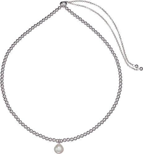 Majorica Women's 10mm Round Pearl on Steel Beaded Necklace 16-26¿ White One (10mm White Round Pearl Necklace)