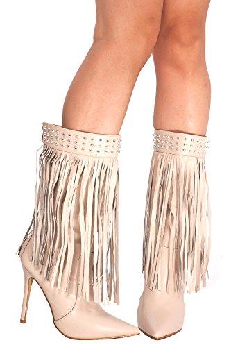 Lolli Couture Forever Link Wildleder Material Seitlicher Reißverschluss Schnalle Pelzbesatz Akzent Chunky High Heel Booties Nude-M48-35