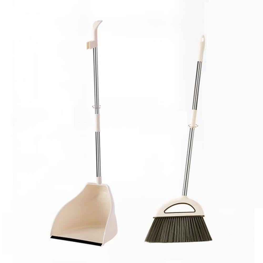 Stainless Steel Rod Extra Long Handle Broom And Dustpan Soft Brush Windproof Magic Broom Set Room Lobby Floor Toilet Cleaning Tools (Color : Brown) by HBKJ3