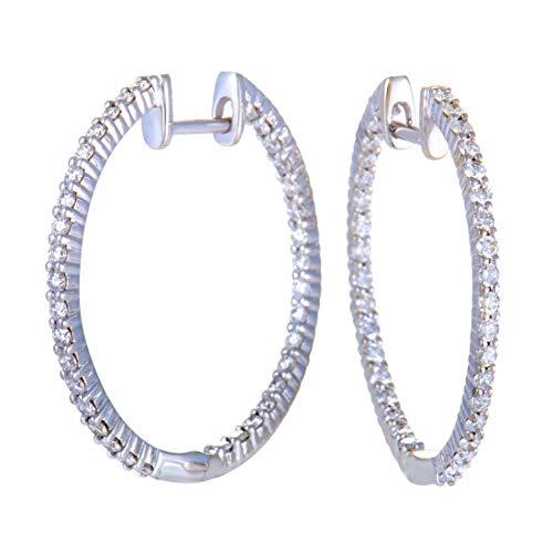 - ~1ct 14K White Gold Full Diamond Pave Inside Out Hoop Earrings