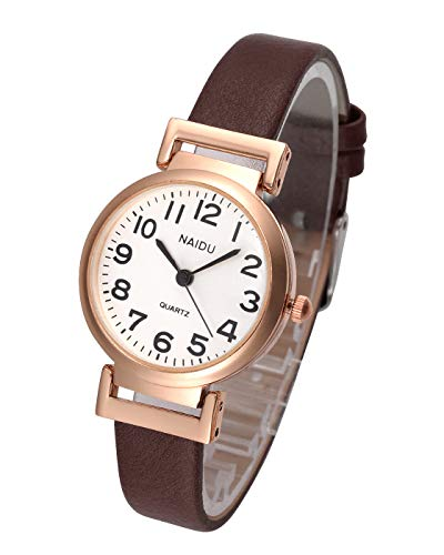 Top Plaza Womens Ladies Classic Simple Brown Leather Analog Wrist Watch Rose Gold Case Arabic Numerals Casual Dress Quartz Watches ()