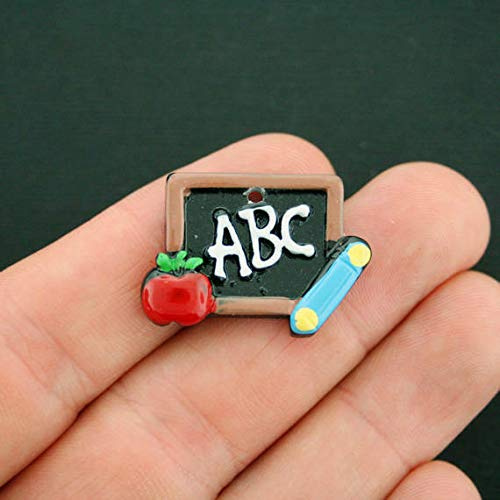 Great Selection 2 Teacher Charms Enamel Chalkboard ABC and Apple - E478 Build Your Designs
