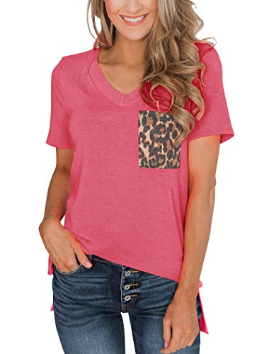 Minthunter Women's Casual Basic Tops Short Sleeve V Neck T Shirt with Sequin/Leopard Pocket ()