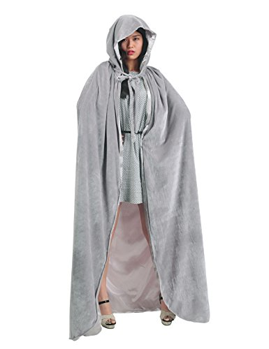 Robe With Grey Hood Costumes (Christmas Deluxe Cloak with Hood Adult Halloween Costumes Capes, silver grey, M)