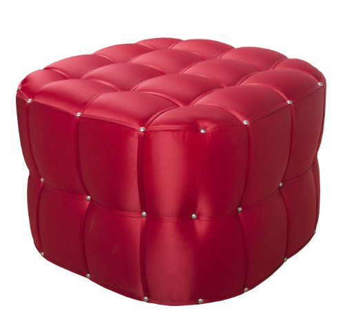Sandy Wilson China Ottoman, Cherry Red