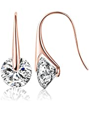 Mestige Rose Gold Eclipse Drop Dangle Earrings with Swarovski® Crystals, Gift