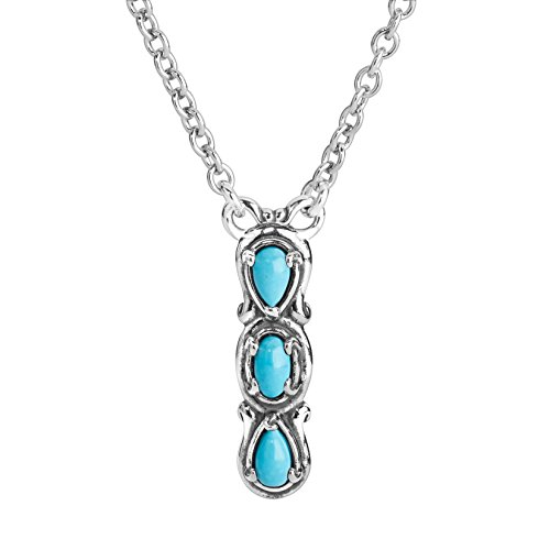 Carolyn Pollack Sterling Silver Blue Turquiose Gemstone 3 Stone Vertical Bar Necklace 16 to 18 Inch