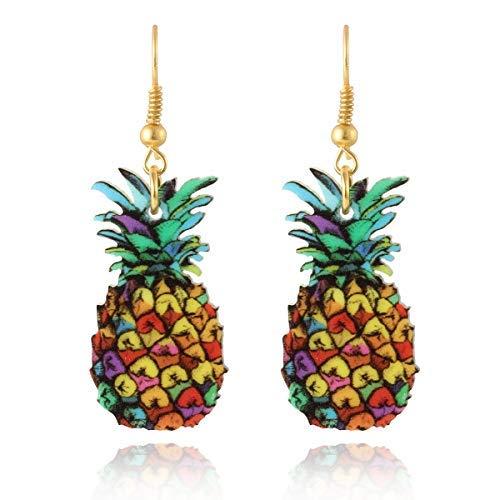 Marte&Joven Yellow Pineapple Dangle Earrings for Women Holiday Gift Fashion Fruit Print Acrylic Earring