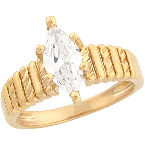 10k Yellow Gold 1.67ct CZ Marquis Solitaire Ladies Engagement Ring