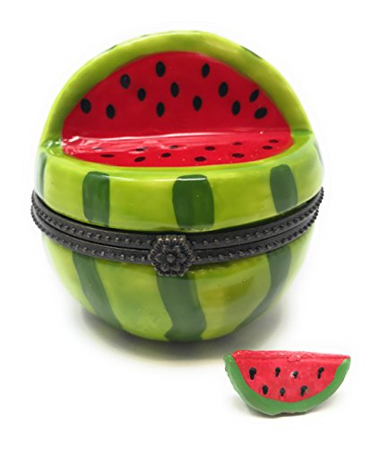 Art Gifts Watermelon Porcelain Trinket Box with Tiny Melon Slice Inside, 2 Inches Tall - Limoges Trinket Box Porcelain