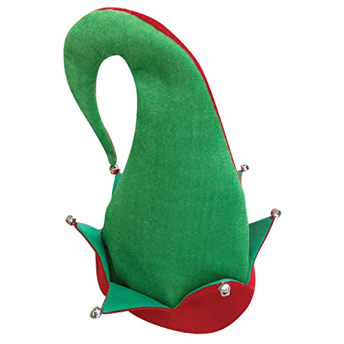Loftus Jingle Bells Santa's Elf Curved Adult Costume Hat, Green Red, One -
